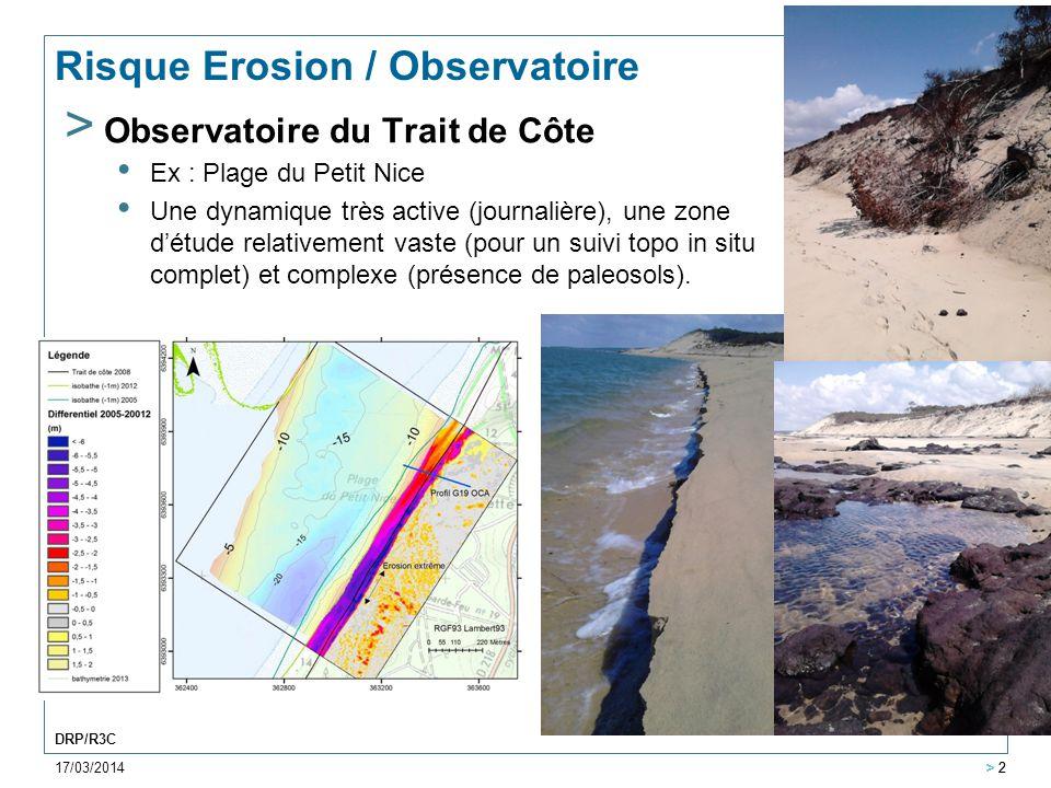 17/03/2014 > 2 DRP/R3C > 2 Risque Erosion / Observatoire > Observatoire du Trait de Côte Ex : Plage du Petit Nice Une dynamique très active (journaliè