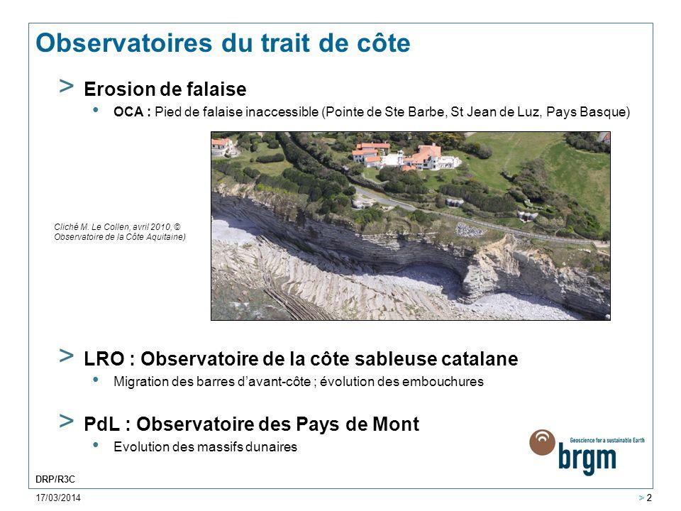 17/03/2014 > 2 DRP/R3C > 2 Observatoires du trait de côte > Erosion de falaise OCA : Pied de falaise inaccessible (Pointe de Ste Barbe, St Jean de Luz