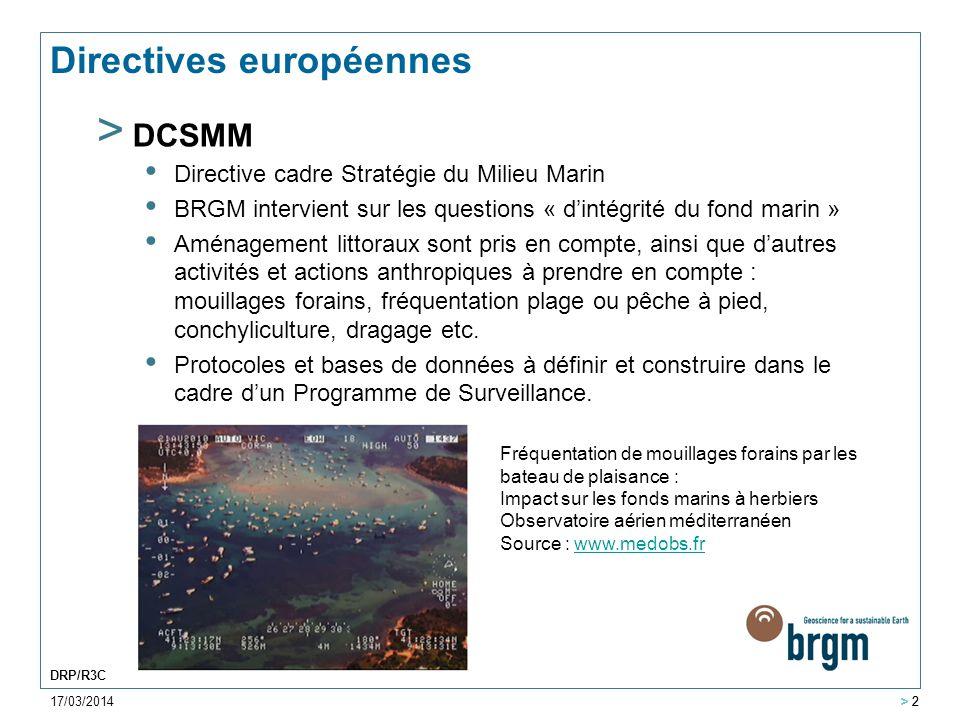 17/03/2014 > 2 DRP/R3C > 2 Directives européennes > DCSMM Directive cadre Stratégie du Milieu Marin BRGM intervient sur les questions « d'intégrité du