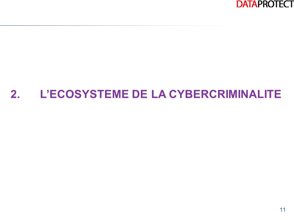 11 2.L'ECOSYSTEME DE LA CYBERCRIMINALITE