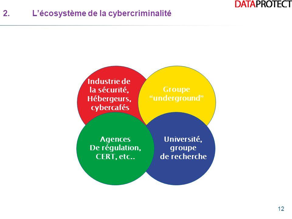 12 2.L'écosystème de la cybercriminalité Industrie de la sécurité, Hébergeurs, cybercafés Groupe underground Agences De régulation, CERT, etc..