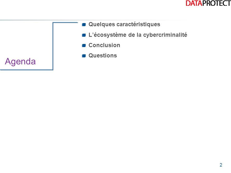 2 Agenda Quelques caractéristiques L'écosystème de la cybercriminalité Conclusion Questions