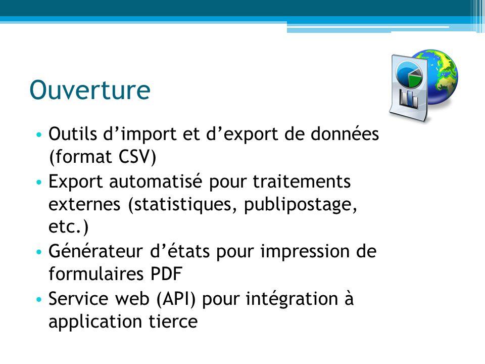 Ouverture Outils d'import et d'export de données (format CSV) Export automatisé pour traitements externes (statistiques, publipostage, etc.) Générateu