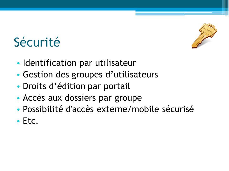 Sécurité Identification par utilisateur Gestion des groupes d'utilisateurs Droits d'édition par portail Accès aux dossiers par groupe Possibilité d'ac
