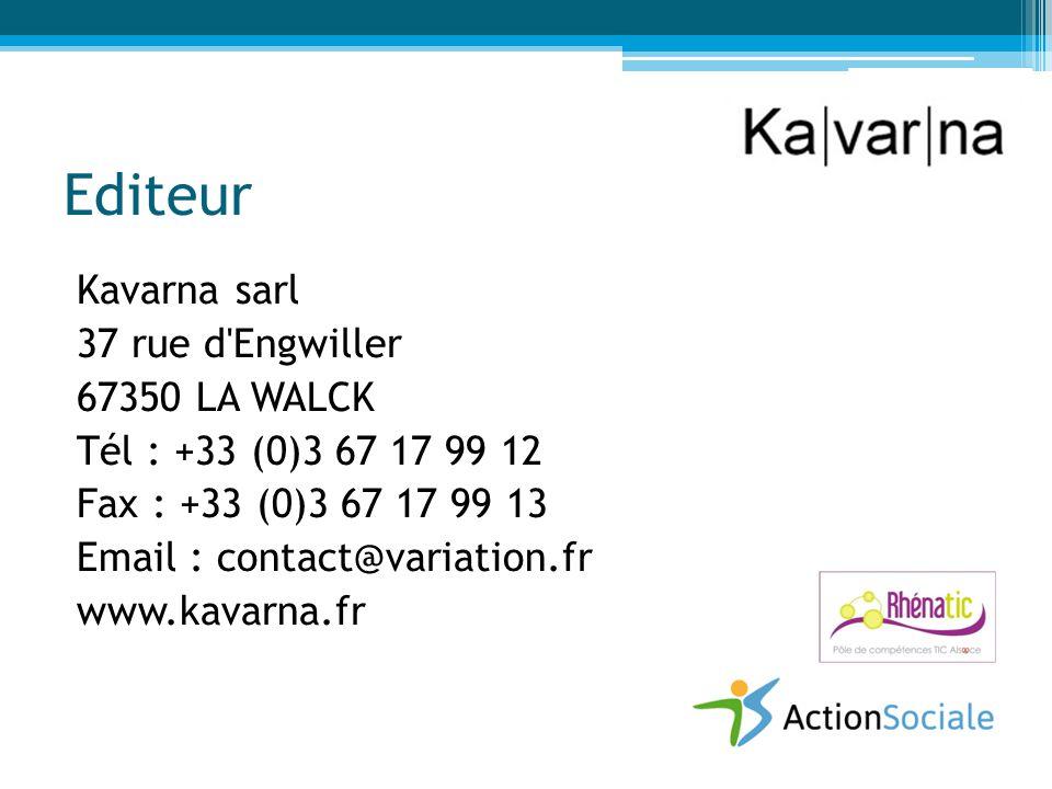 Editeur Kavarna sarl 37 rue d'Engwiller 67350 LA WALCK Tél : +33 (0)3 67 17 99 12 Fax : +33 (0)3 67 17 99 13 Email : contact@variation.fr www.kavarna.