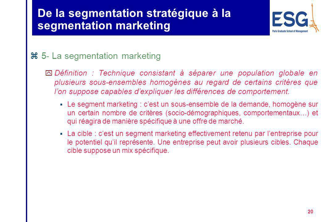 19 Définition d 'un marché z4- Quatre niveaux d'analyse du marché : y le marché principal correspond à l'ensemble des produits techniquement identique