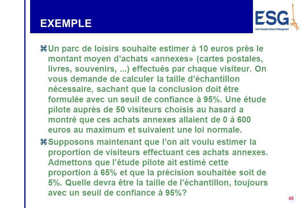 45 TAILLE DE L'ÉCHANTILLON z Cas d'une moyenne t 2  2 n  2 z Cas d'une proportion t 2 p(1-p) n  2