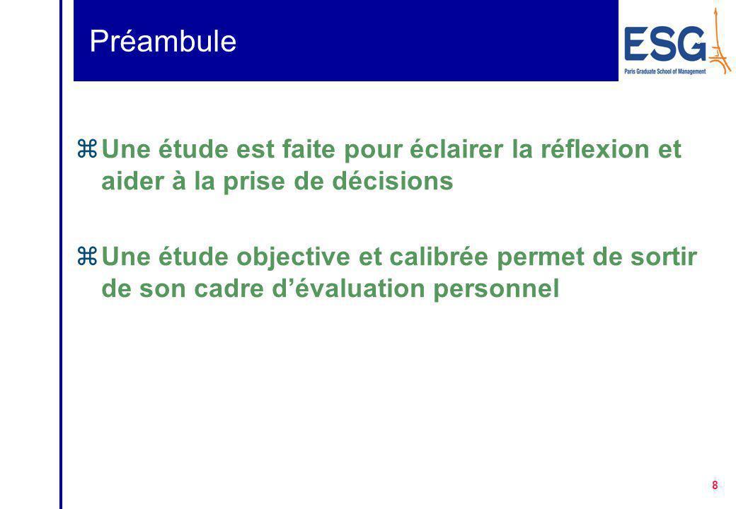 8 8 Préambule zUne étude est faite pour éclairer la réflexion et aider à la prise de décisions zUne étude objective et calibrée permet de sortir de son cadre d'évaluation personnel