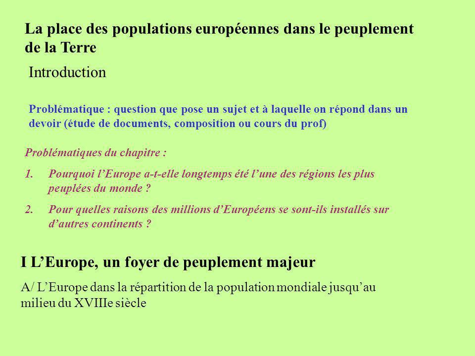 La place des populations européennes dans le peuplement de la Terre Problématique : question que pose un sujet et à laquelle on répond dans un devoir