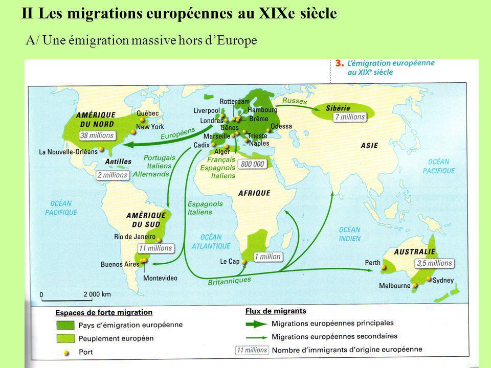 II Les migrations européennes au XIXe siècle A/ Une émigration massive hors d'Europe