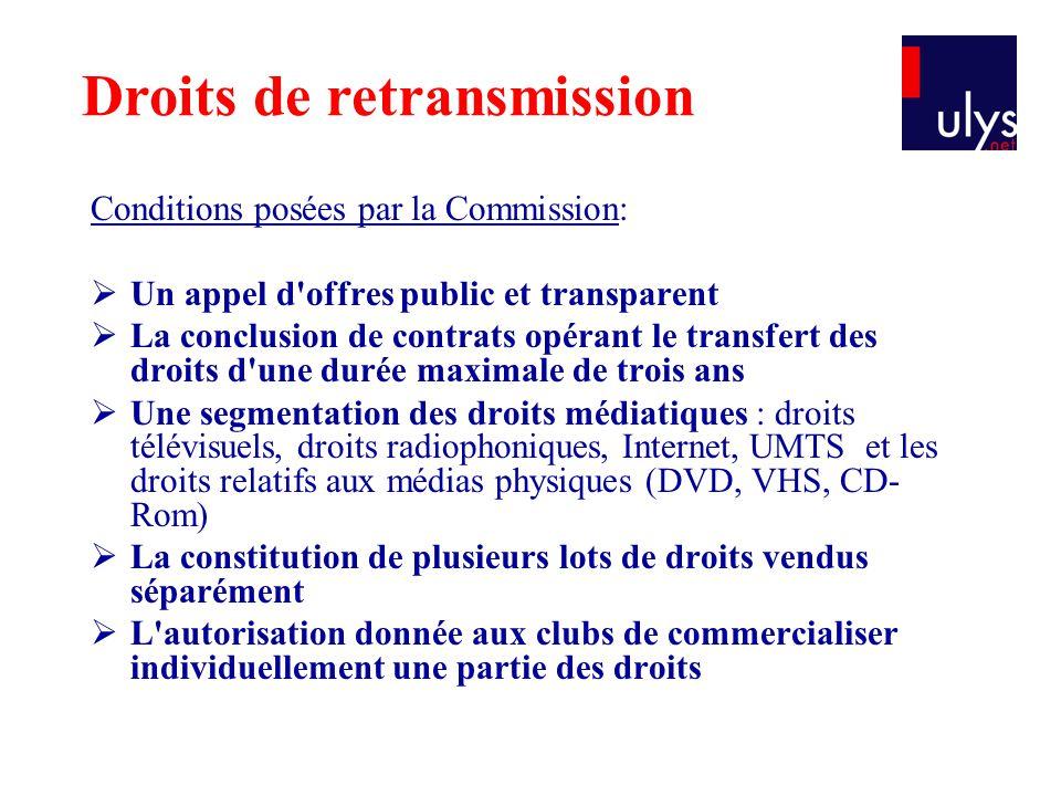 Conditions posées par la Commission:  Un appel d'offres public et transparent  La conclusion de contrats opérant le transfert des droits d'une durée