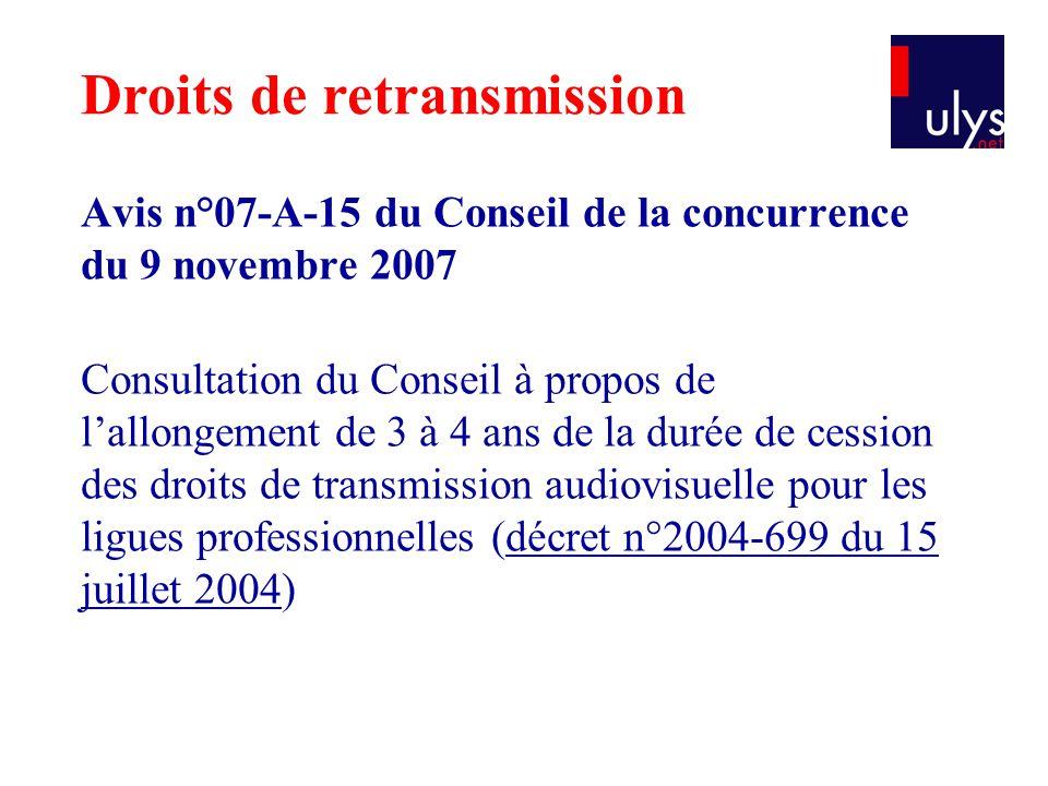 Avis n°07-A-15 du Conseil de la concurrence du 9 novembre 2007 Consultation du Conseil à propos de l'allongement de 3 à 4 ans de la durée de cession d