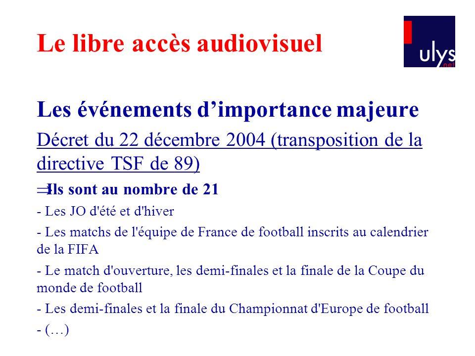 Les événements d'importance majeure Décret du 22 décembre 2004 (transposition de la directive TSF de 89)  Ils sont au nombre de 21 - Les JO d'été et