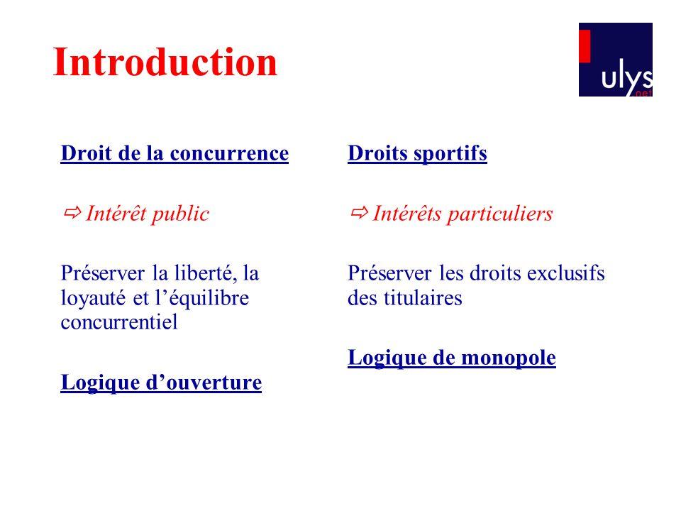 Droit de la concurrence  Intérêt public Préserver la liberté, la loyauté et l'équilibre concurrentiel Logique d'ouverture Droits sportifs  Intérêts
