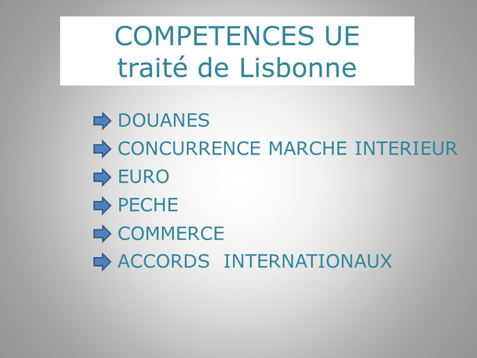COMPETENCES UE traité de Lisbonne DOUANES EURO CONCURRENCE MARCHE INTERIEUR PECHE COMMERCE ACCORDS INTERNATIONAUX