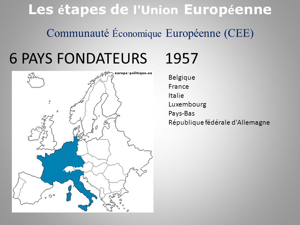 Communauté Économique Européenne (CEE) 1973 Belgique France Italie Luxembourg Pays-Bas République fédérale d Allemagne EUROPE DES 9 + Irlande Danemark Royaume- Uni Les é tapes de l Union Europ é enne