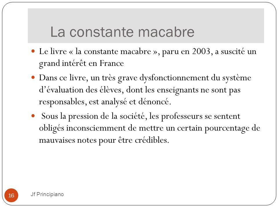 La constante macabre Jf Principiano 16 Le livre « la constante macabre », paru en 2003, a suscité un grand intérêt en France Dans ce livre, un très gr