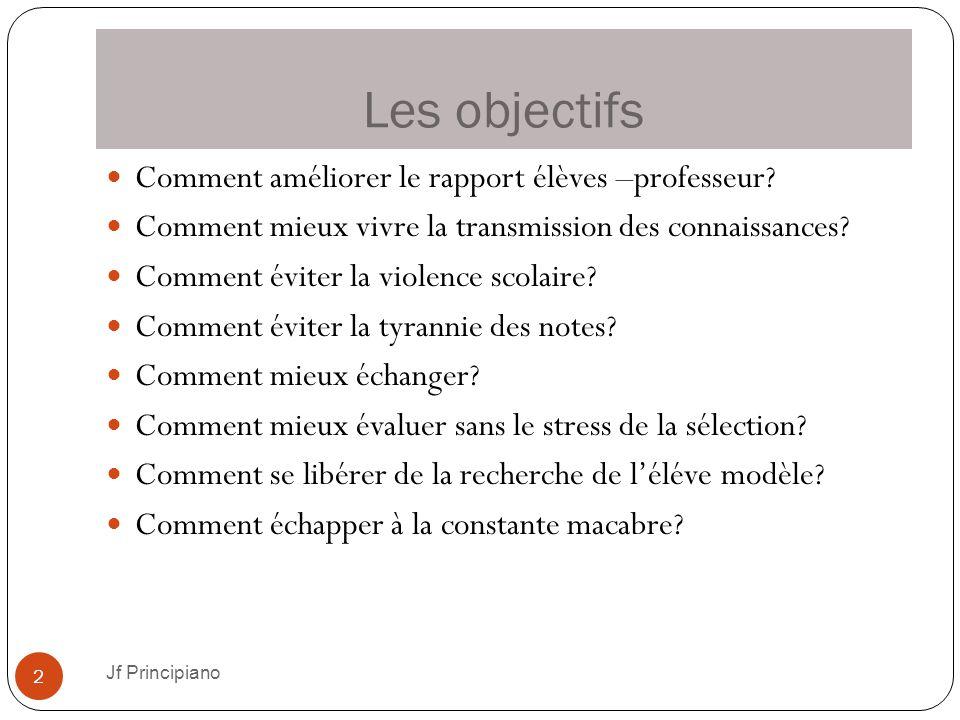 Les objectifs Jf Principiano 2 Comment améliorer le rapport élèves –professeur? Comment mieux vivre la transmission des connaissances? Comment éviter