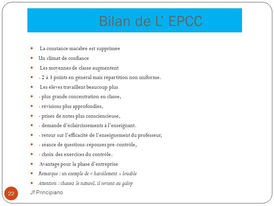 Bilan de L' EPCC La constance macabre est supprimée Un climat de confiance Les moyennes de classe augmentent - 2 à 3 points en général mais répartitio