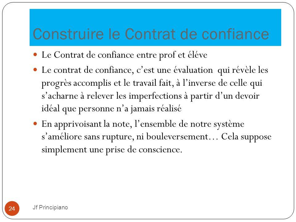 Construire le Contrat de confiance Jf Principiano 24 Le Contrat de confiance entre prof et éléve Le contrat de confiance, c'est une évaluation qui rév
