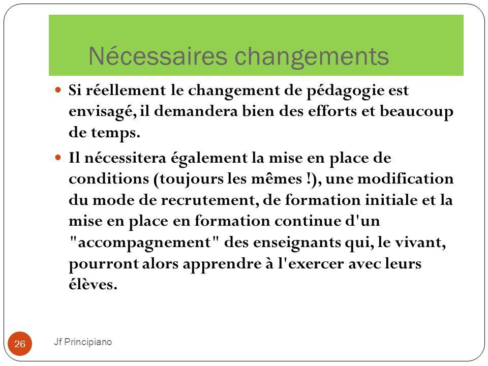 Nécessaires changements Jf Principiano 26 Si réellement le changement de pédagogie est envisagé, il demandera bien des efforts et beaucoup de temps. I