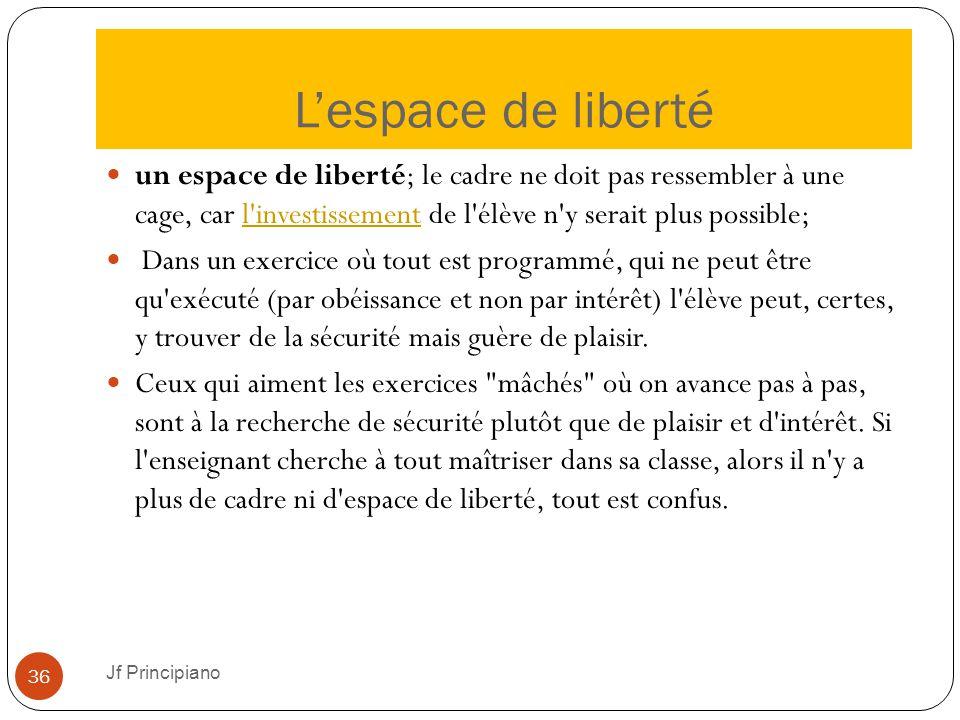 L'espace de liberté Jf Principiano 36 un espace de liberté; le cadre ne doit pas ressembler à une cage, car l'investissement de l'élève n'y serait plu