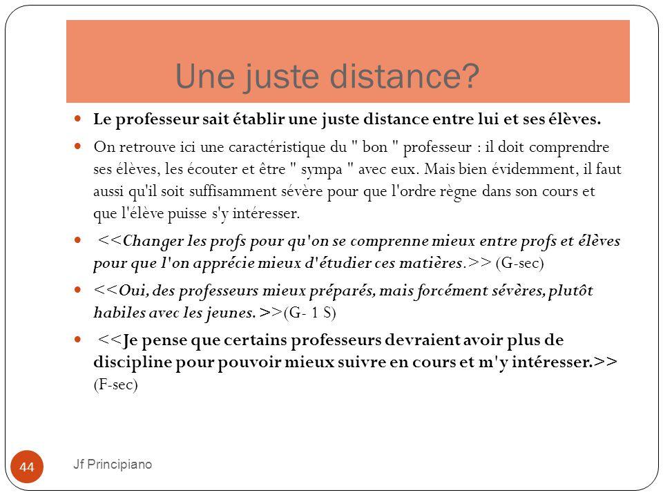 Une juste distance? Jf Principiano 44 Le professeur sait établir une juste distance entre lui et ses élèves. On retrouve ici une caractéristique du