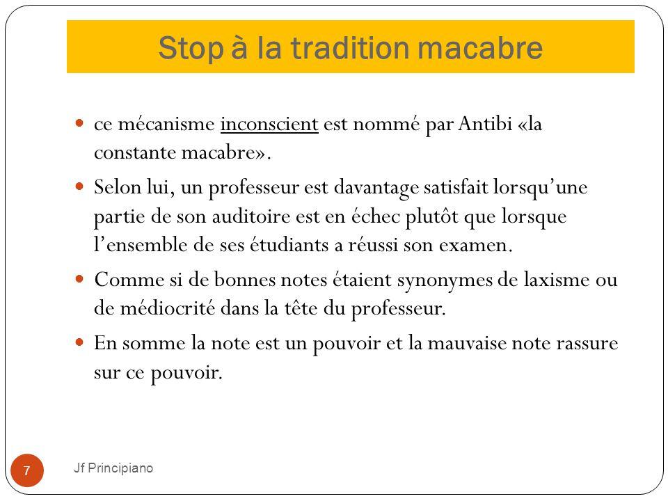 Stop à la tradition macabre Jf Principiano 7 ce mécanisme inconscient est nommé par Antibi «la constante macabre». Selon lui, un professeur est davant