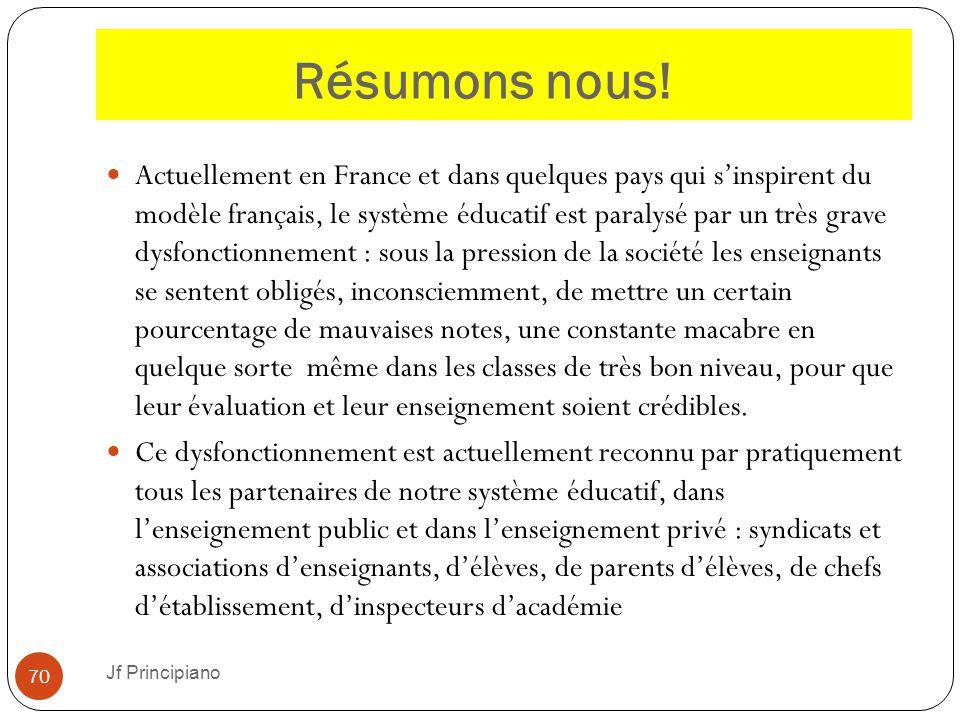 Résumons nous! Actuellement en France et dans quelques pays qui s'inspirent du modèle français, le système éducatif est paralysé par un très grave dys