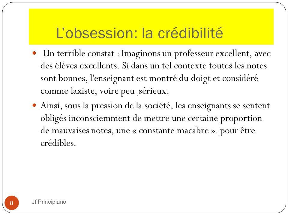 L'obsession: la crédibilité Jf Principiano 8 Un terrible constat : Imaginons un professeur excellent, avec des élèves excellents. Si dans un tel conte