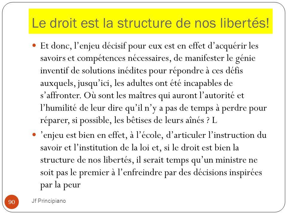 Le droit est la structure de nos libertés! Et donc, l'enjeu décisif pour eux est en effet d'acquérir les savoirs et compétences nécessaires, de manife