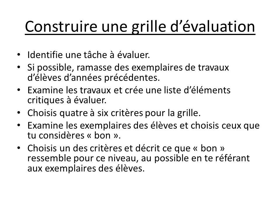 Construire une grille d'évaluation Identifie une tâche à évaluer. Si possible, ramasse des exemplaires de travaux d'élèves d'années précédentes. Exami