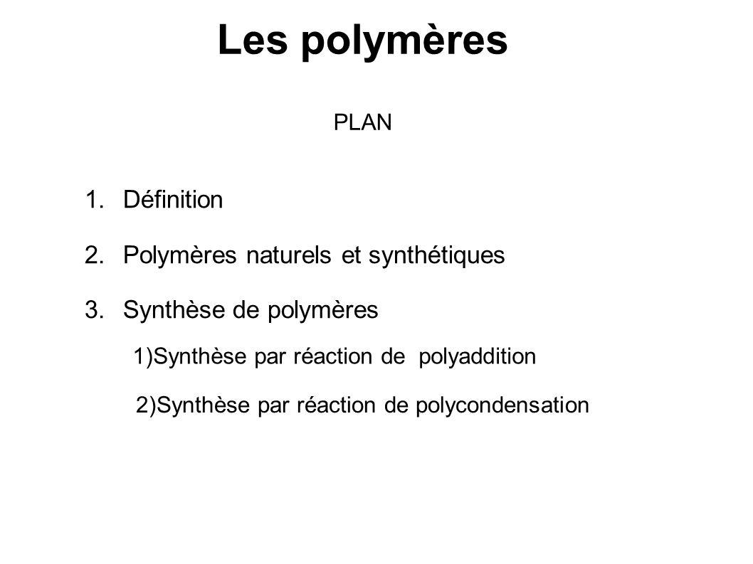 Les polymères PLAN 1.Définition 2.Polymères naturels et synthétiques 3.Synthèse de polymères 1)Synthèse par réaction de polyaddition 2)Synthèse par ré