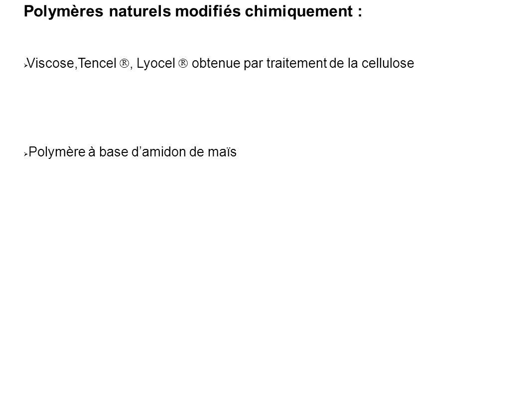 Polymères naturels modifiés chimiquement :  Viscose,Tencel , Lyocel  obtenue par traitement de la cellulose  Polymère à base d'amidon de maïs
