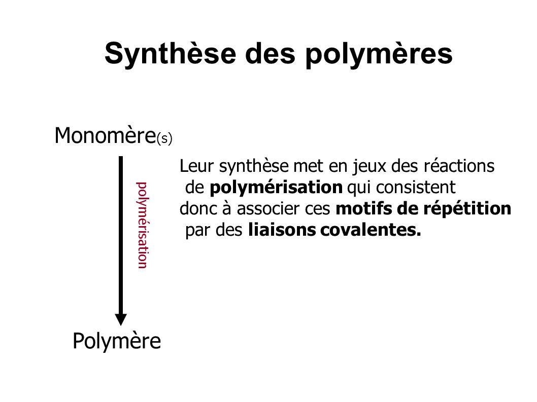 Synthèse des polymères Leur synthèse met en jeux des réactions de polymérisation qui consistent donc à associer ces motifs de répétition par des liais