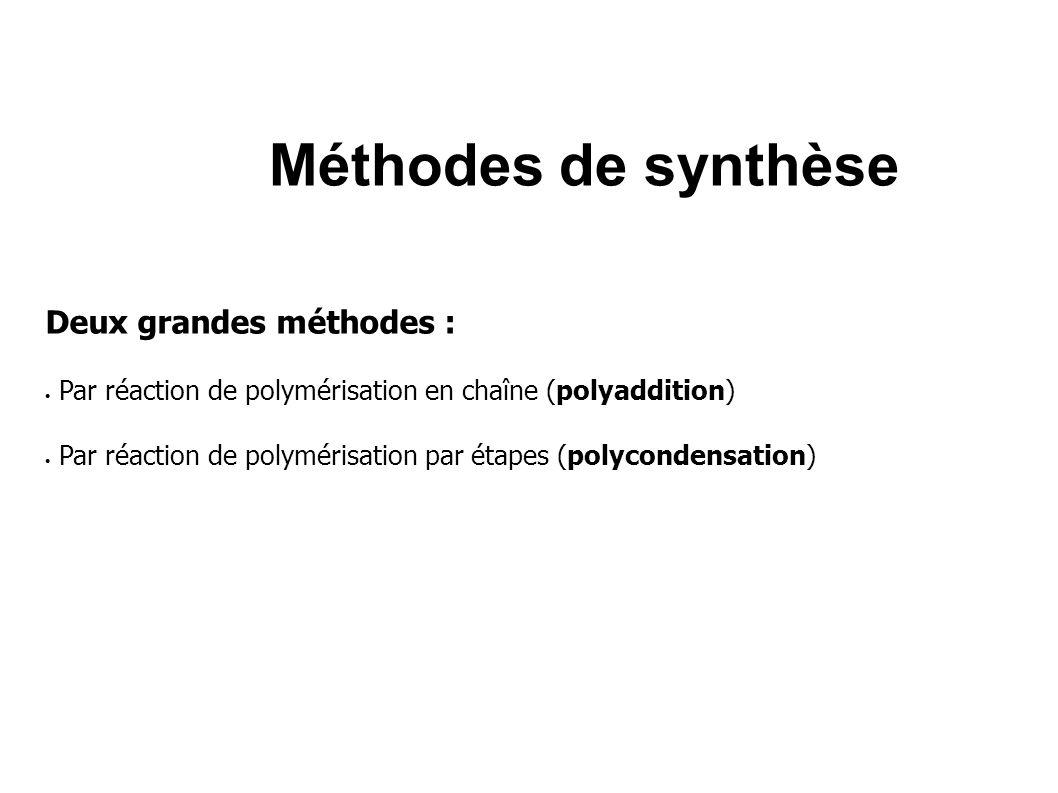 Méthodes de synthèse Deux grandes méthodes : Par réaction de polymérisation en chaîne (polyaddition) Par réaction de polymérisation par étapes (polyc