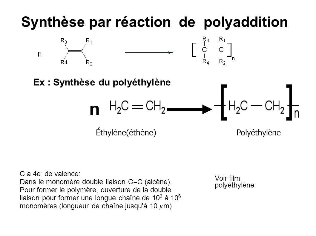 Synthèse par réaction de polyaddition Éthylène(éthène) Polyéthylène C a 4e - de valence: Dans le monomère double liaison C=C (alcène). Pour former le