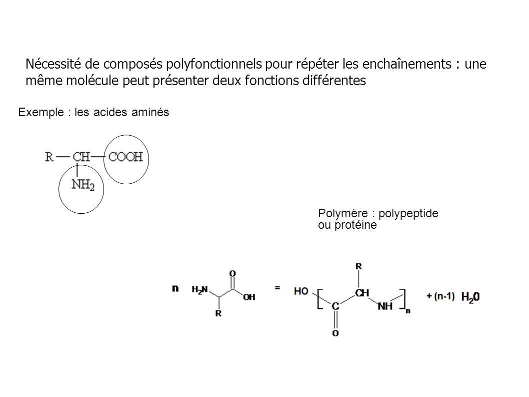 Nécessité de composés polyfonctionnels pour répéter les enchaînements : une même molécule peut présenter deux fonctions différentes Exemple : les acid