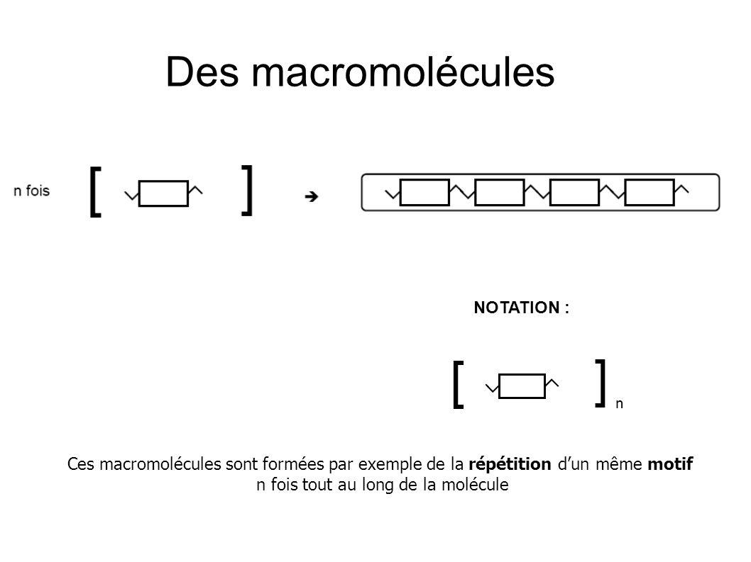 NOTATION : Des macromolécules Ces macromolécules sont formées par exemple de la répétition d'un même motif n fois tout au long de la molécule