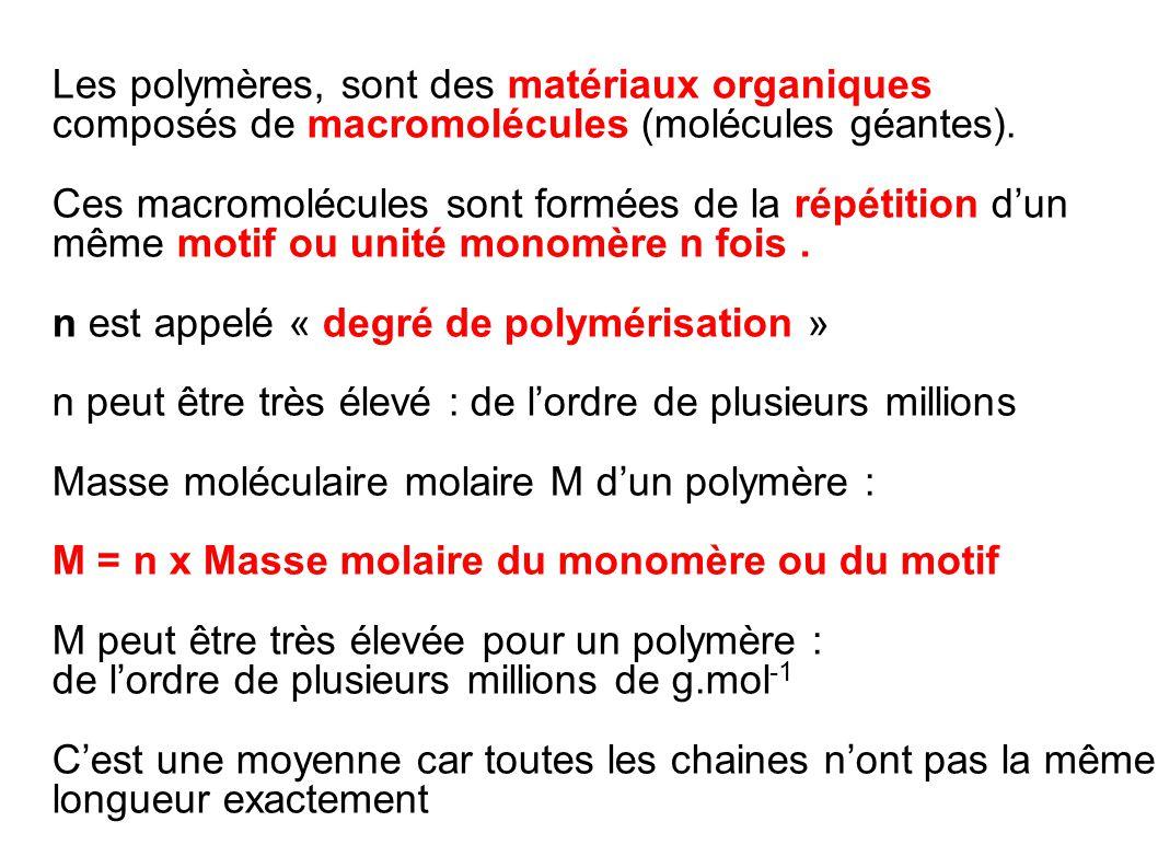 Les polymères, sont des matériaux organiques composés de macromolécules (molécules géantes). Ces macromolécules sont formées de la répétition d'un mêm