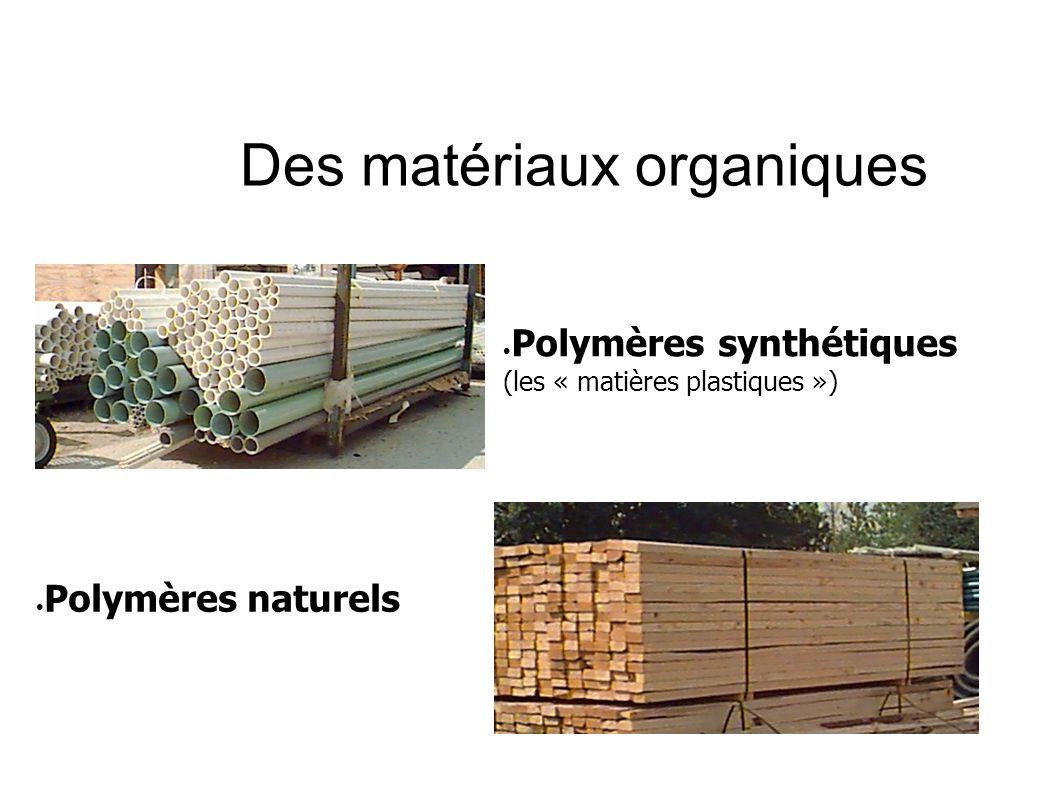 Des matériaux organiques Polymères synthétiques (les « matières plastiques ») Polymères naturels