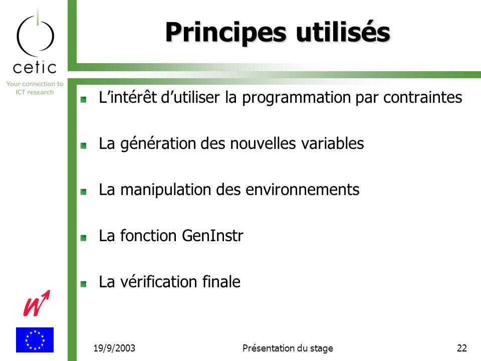 19/9/2003Présentation du stage22 Principes utilisés L'intérêt d'utiliser la programmation par contraintes La génération des nouvelles variables La manipulation des environnements La fonction GenInstr La vérification finale