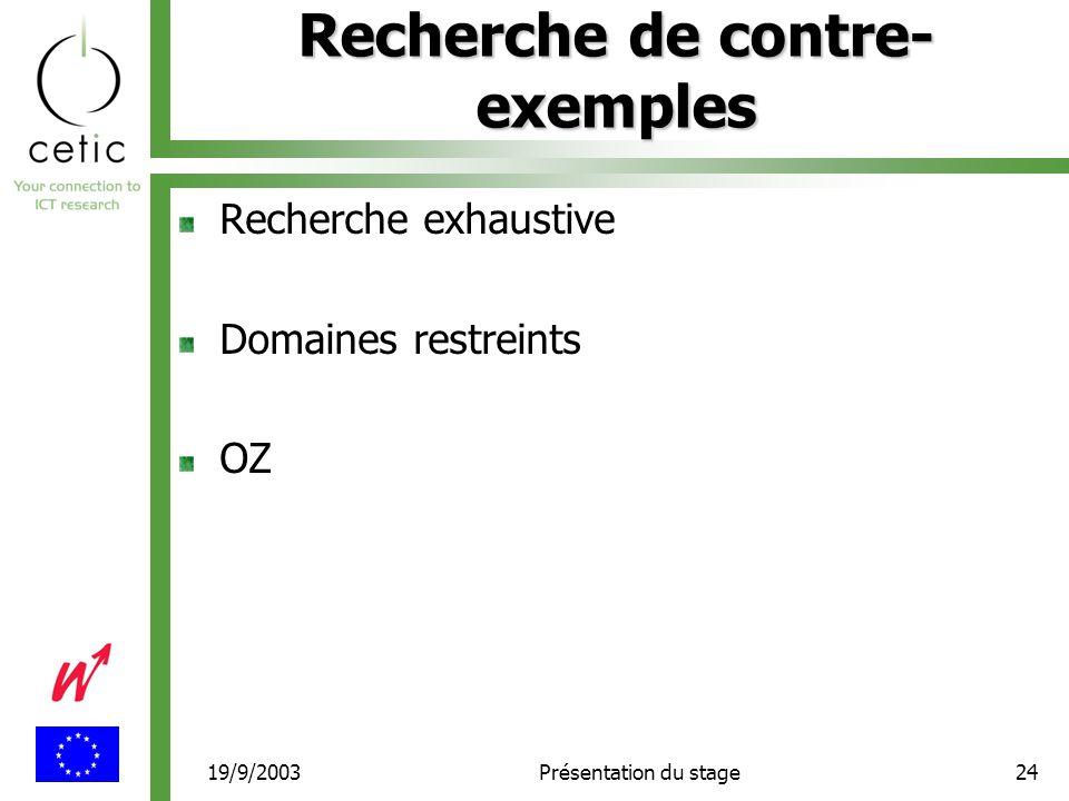 19/9/2003Présentation du stage24 Recherche de contre- exemples Recherche exhaustive Domaines restreints OZ