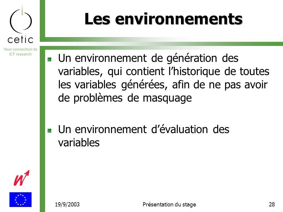 19/9/2003Présentation du stage28 Les environnements Un environnement de génération des variables, qui contient l'historique de toutes les variables générées, afin de ne pas avoir de problèmes de masquage Un environnement d'évaluation des variables