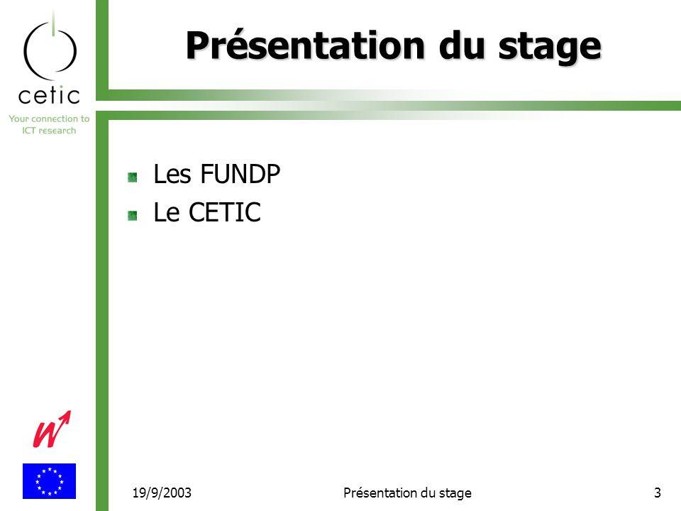 19/9/2003Présentation du stage3 Les FUNDP Le CETIC
