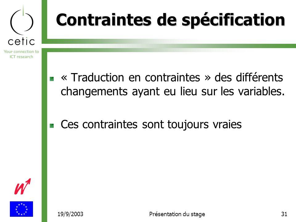 19/9/2003Présentation du stage31 Contraintes de spécification « Traduction en contraintes » des différents changements ayant eu lieu sur les variables.