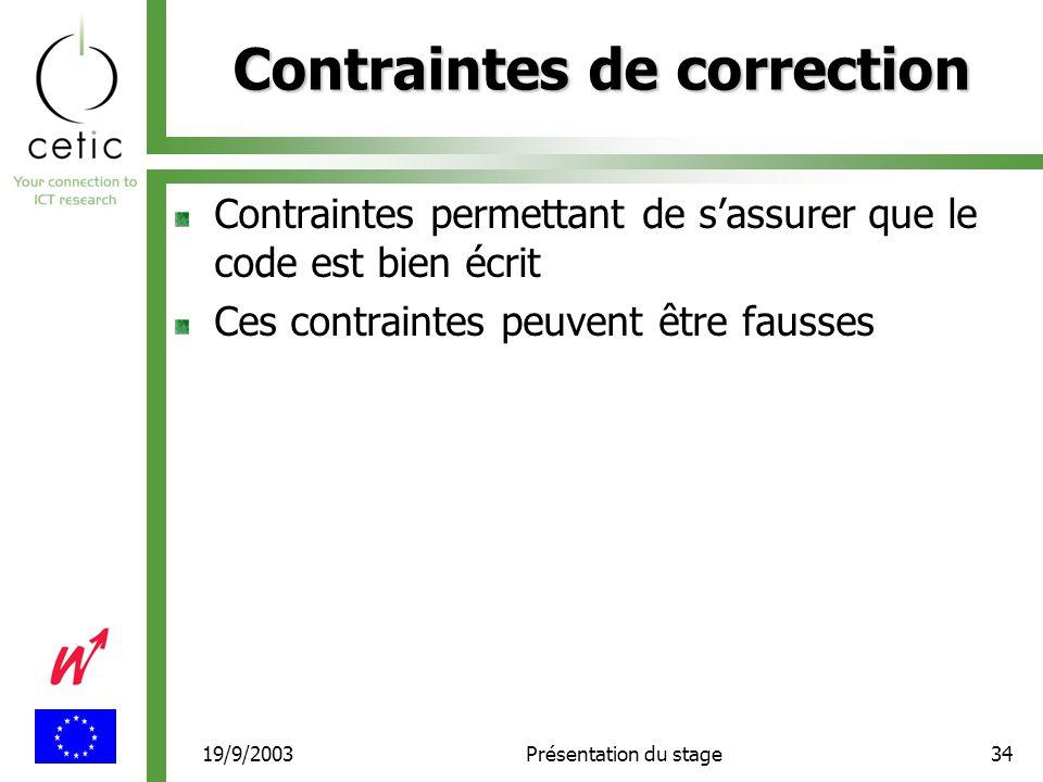 19/9/2003Présentation du stage34 Contraintes de correction Contraintes permettant de s'assurer que le code est bien écrit Ces contraintes peuvent être fausses