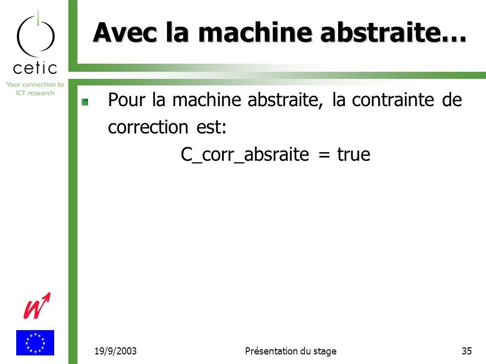 19/9/2003Présentation du stage35 Avec la machine abstraite… Pour la machine abstraite, la contrainte de correction est: C_corr_absraite = true