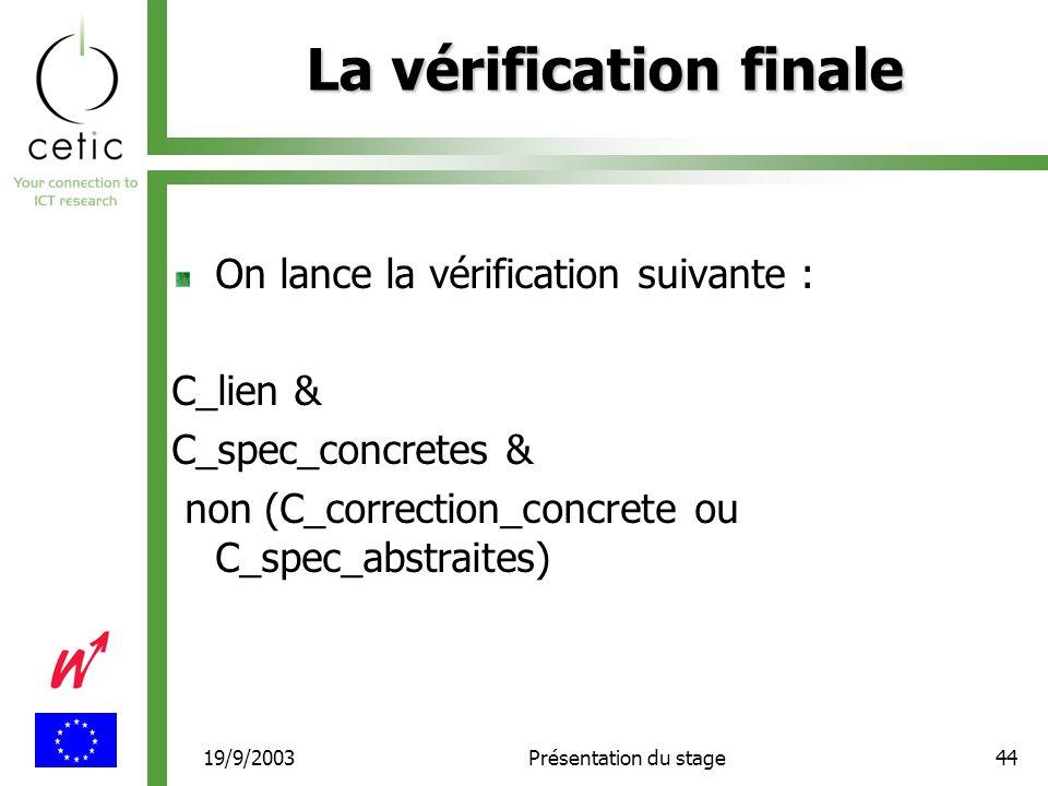 19/9/2003Présentation du stage44 La vérification finale On lance la vérification suivante : C_lien & C_spec_concretes & non (C_correction_concrete ou C_spec_abstraites)
