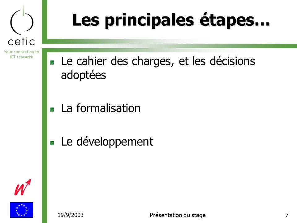 19/9/2003Présentation du stage7 Les principales étapes… Le cahier des charges, et les décisions adoptées La formalisation Le développement
